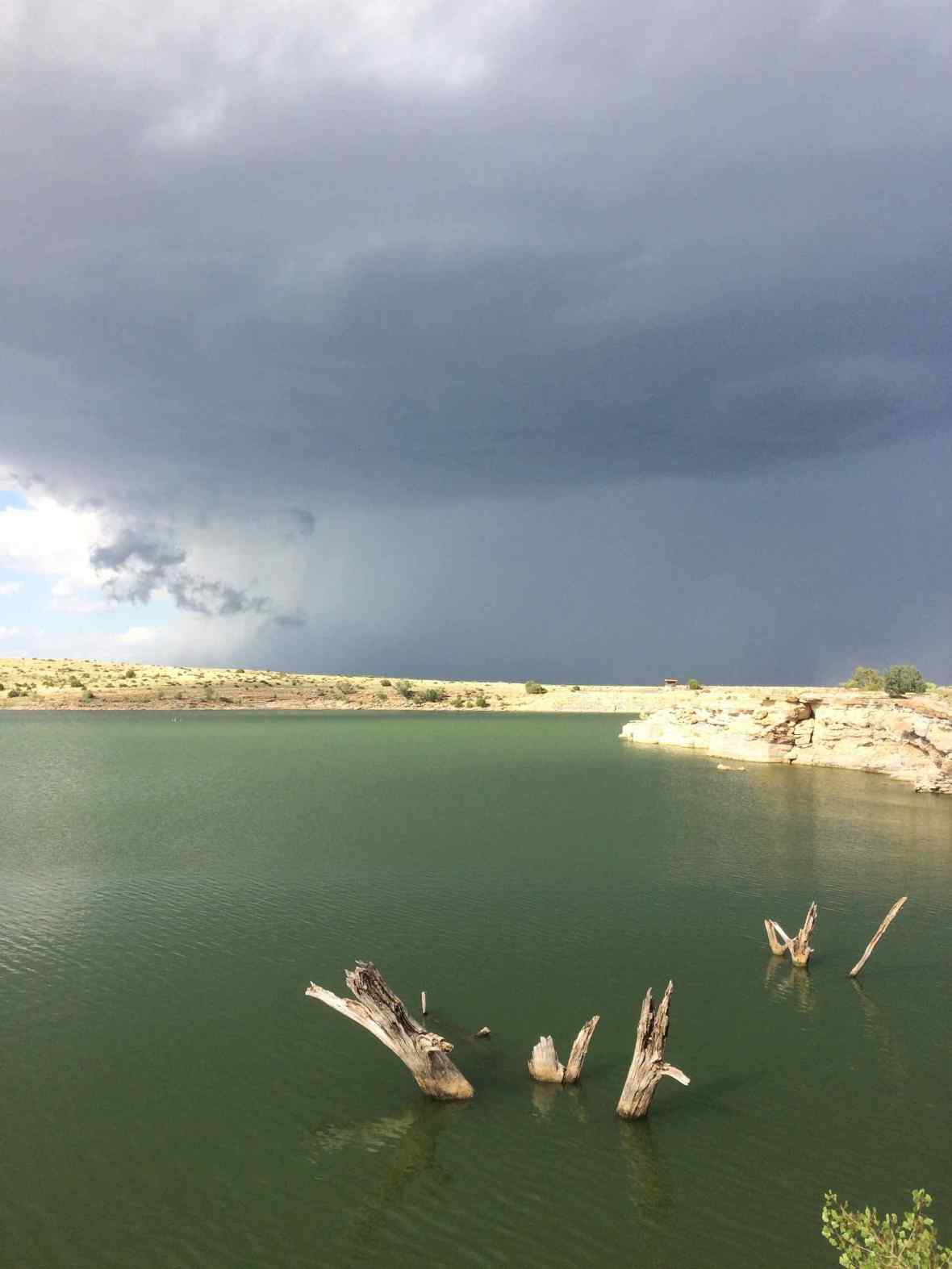 Storm moving in over Clayton Lake New Mexico