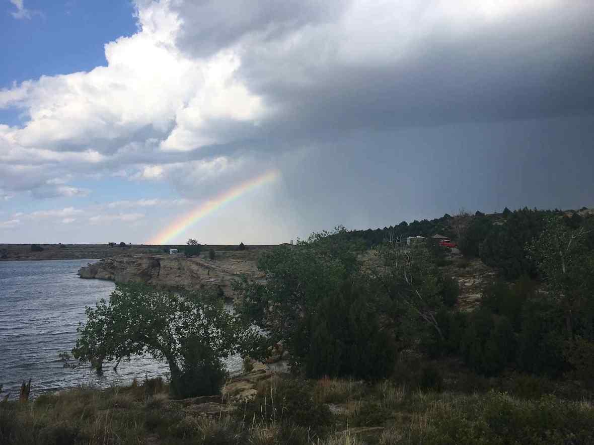 rainbow & rainstorm over clayton lake