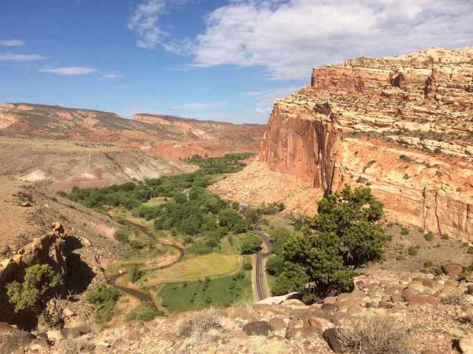 View of Fruita from overlook trail via Cohab Canyon at Capitol Reef