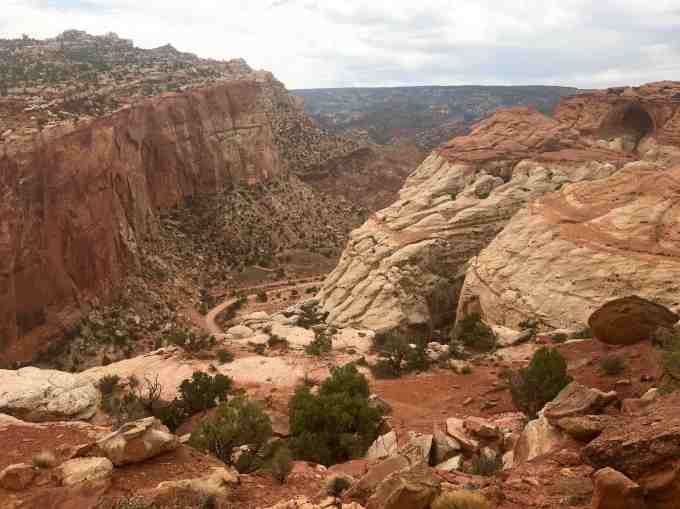 Along the Cassidy Arch Trail, overlooking the Grand Wash at Capitol Reef