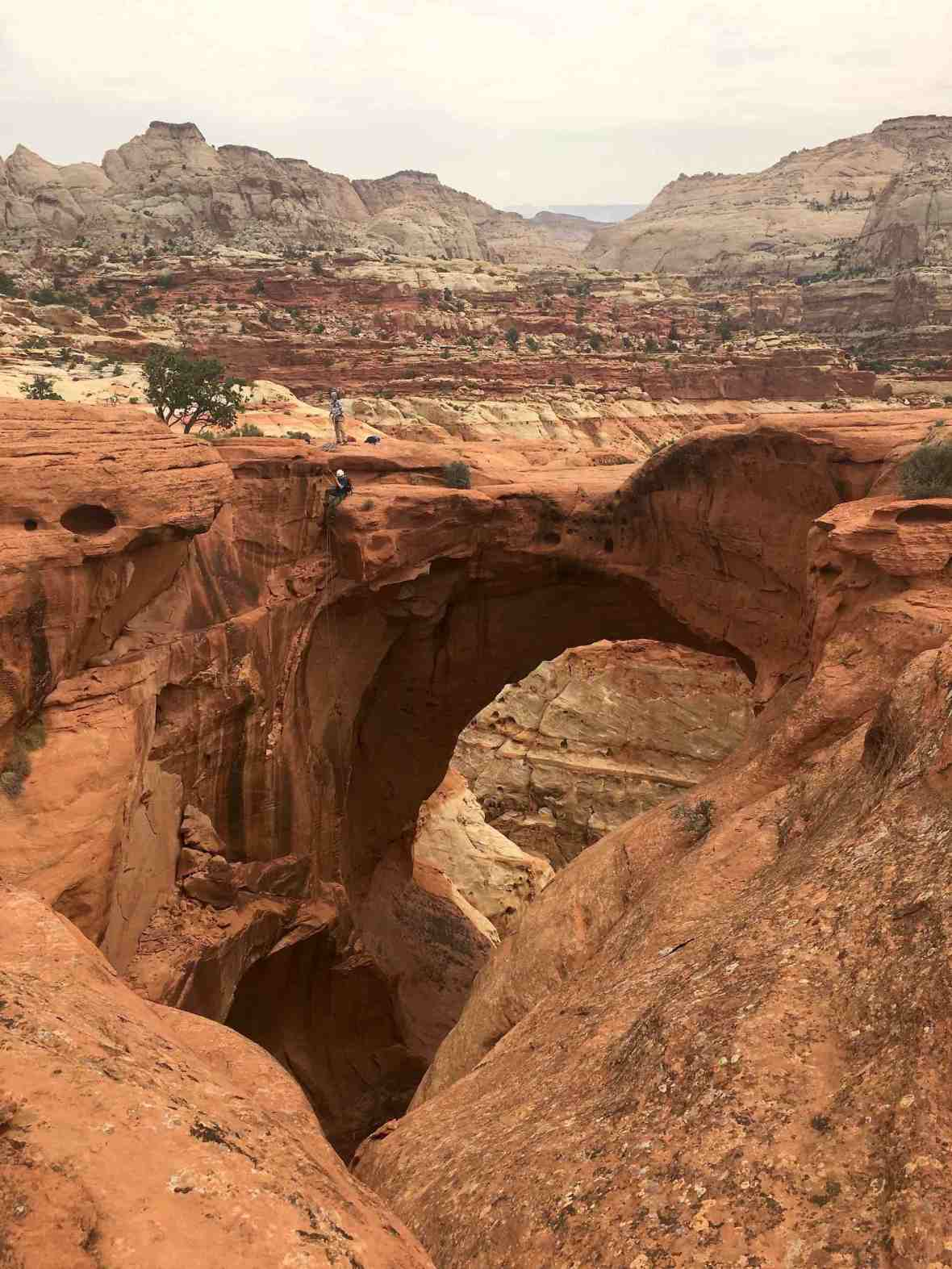Rappelling the Cassidy Arch trail at Capitol Reef National Park