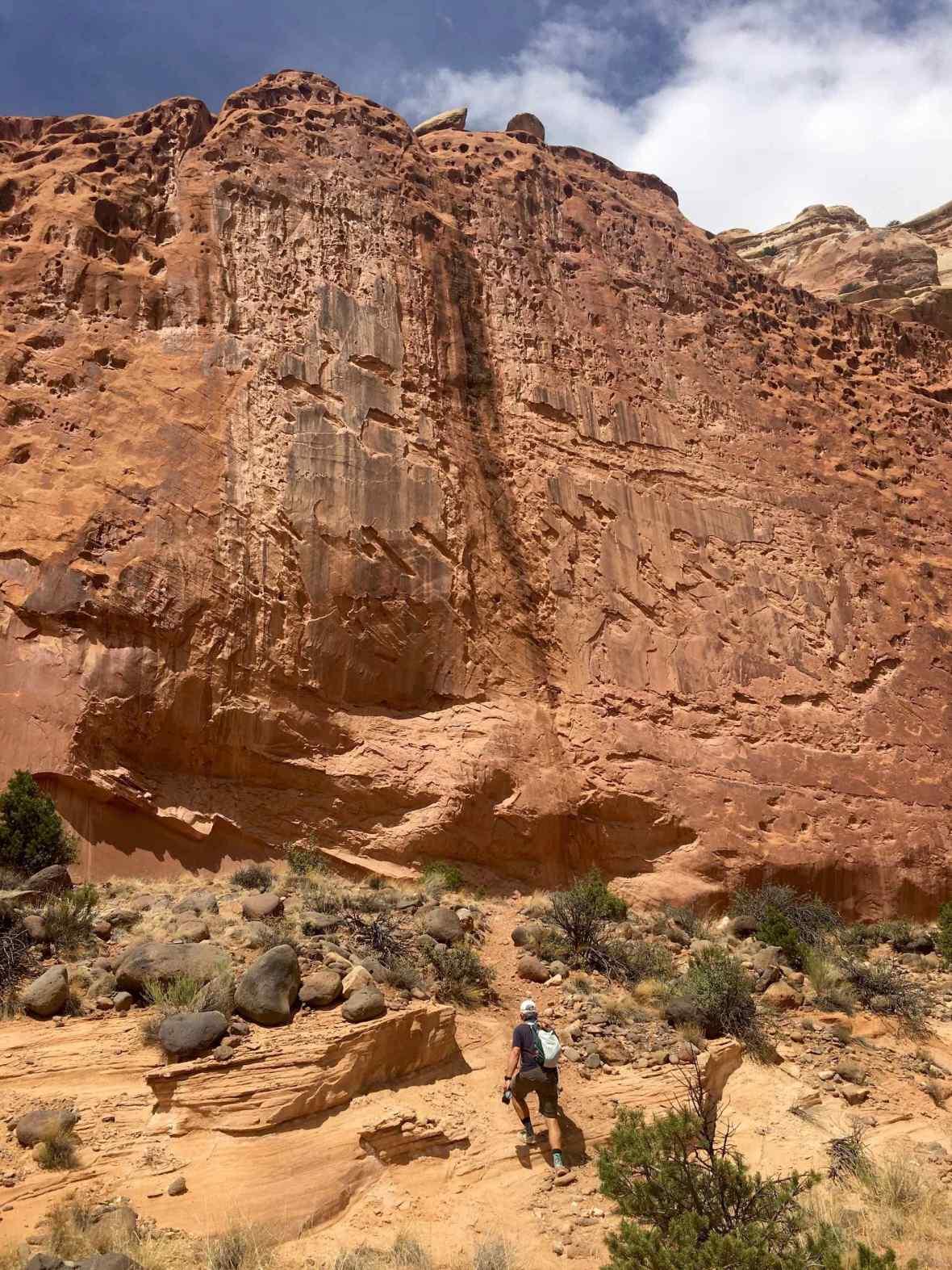 Scrambling up the sandy slop toward the Pleasant Creek trail petroglyphs
