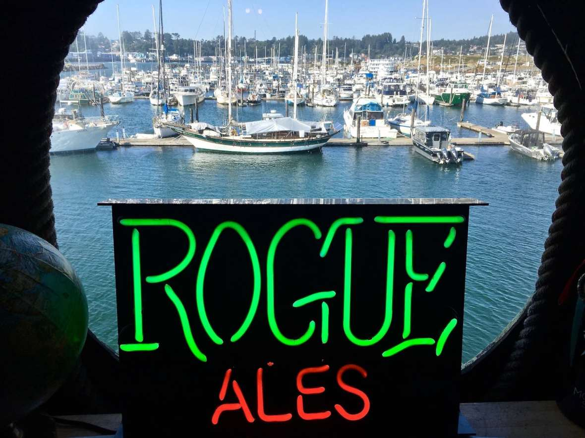 View of the Yaquina Bay harbor from Rogue Brewery Pub in Newport, Oregon