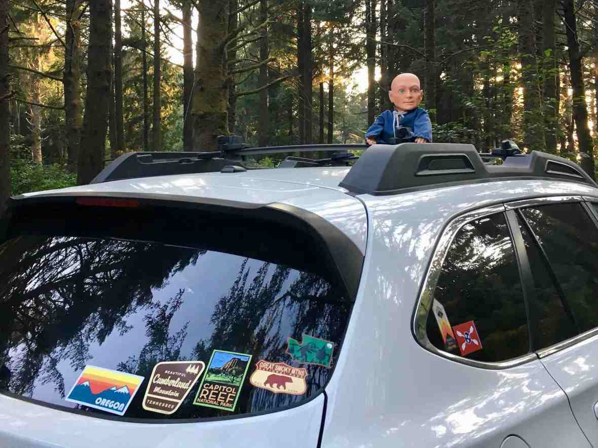Hugo, Man of a Thousand Faces atop our Subaru Outback