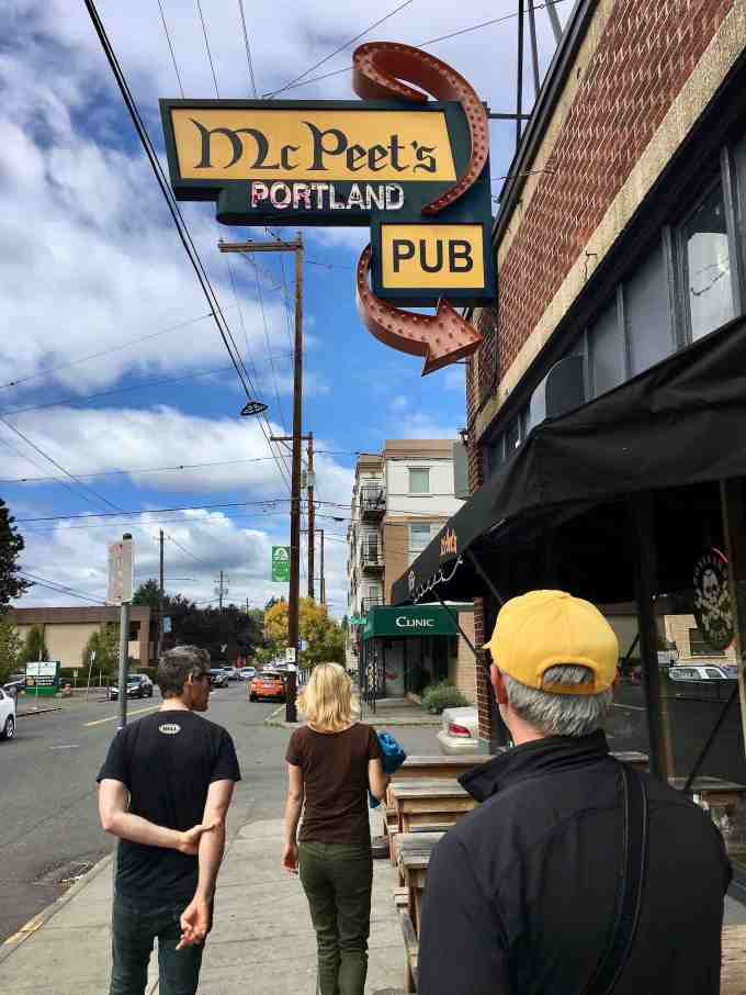 Walking past McPeet's Portland Pub