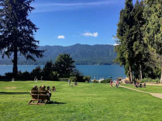 Lawn at Lake Quinault Lodge, Olympic National Forest peninsula Washington