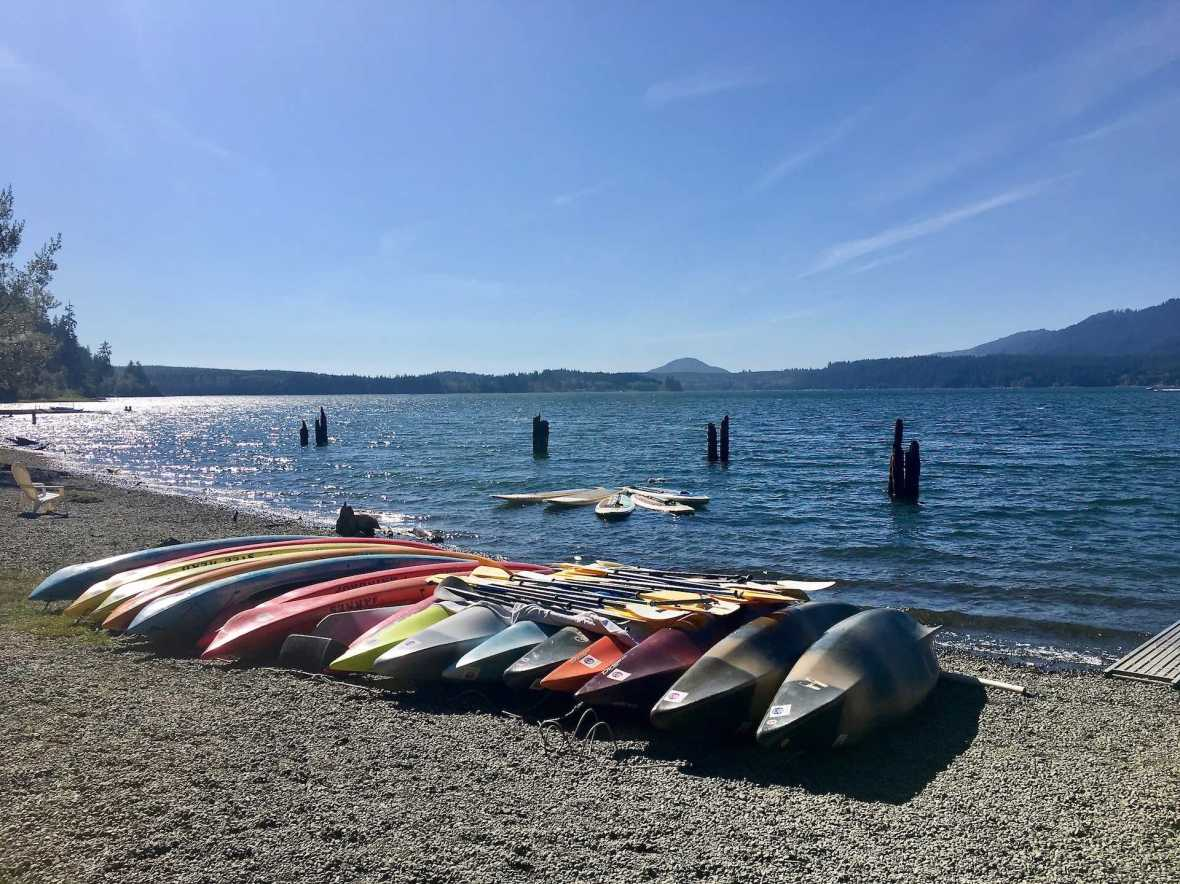 Kayak and SUP rentals at Lake Quinault Lodge Olympic National Forest Park Washington