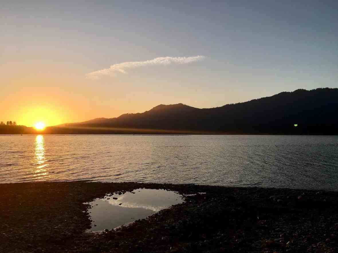 September Sunset over Lake Quinault Olympic national forest park Washington