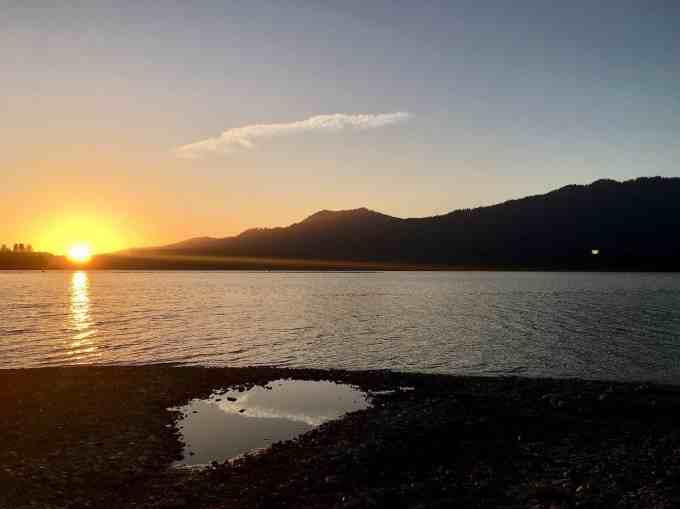 September Sunset over Lake Quinault Olympic national forest park Washington