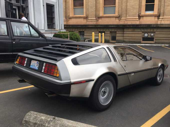 Delorean outside the Oregon Film Museum