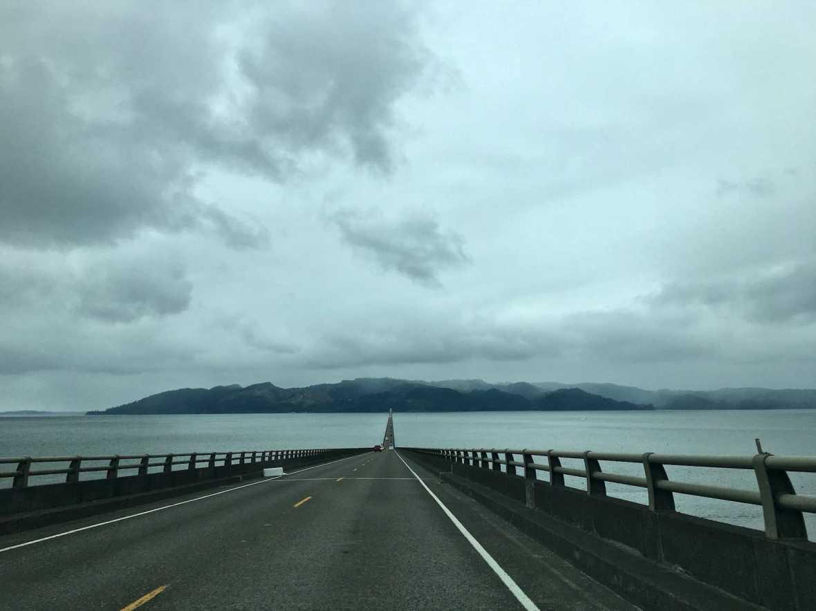 Crossing the Columbia River via the Megler Bridge toward Washington