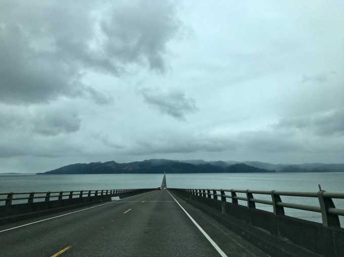Crossing the Columbia River via the Megler Bridge toward Washington