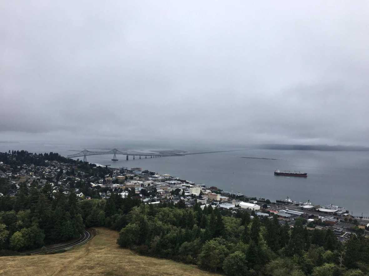 Astoria Oregon Waterfront Megler Bridge Cargo ships viewed from Astoria Column