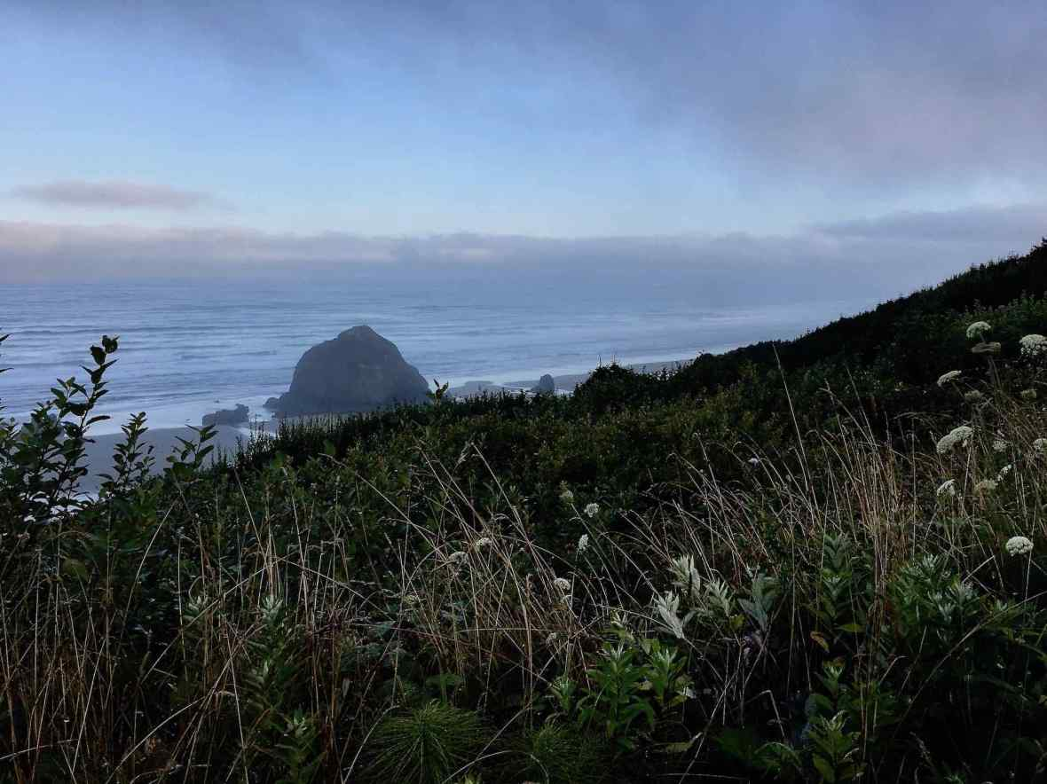 Overlooking Haystack Rock from Highway 101 near Cannon Beach Oregon