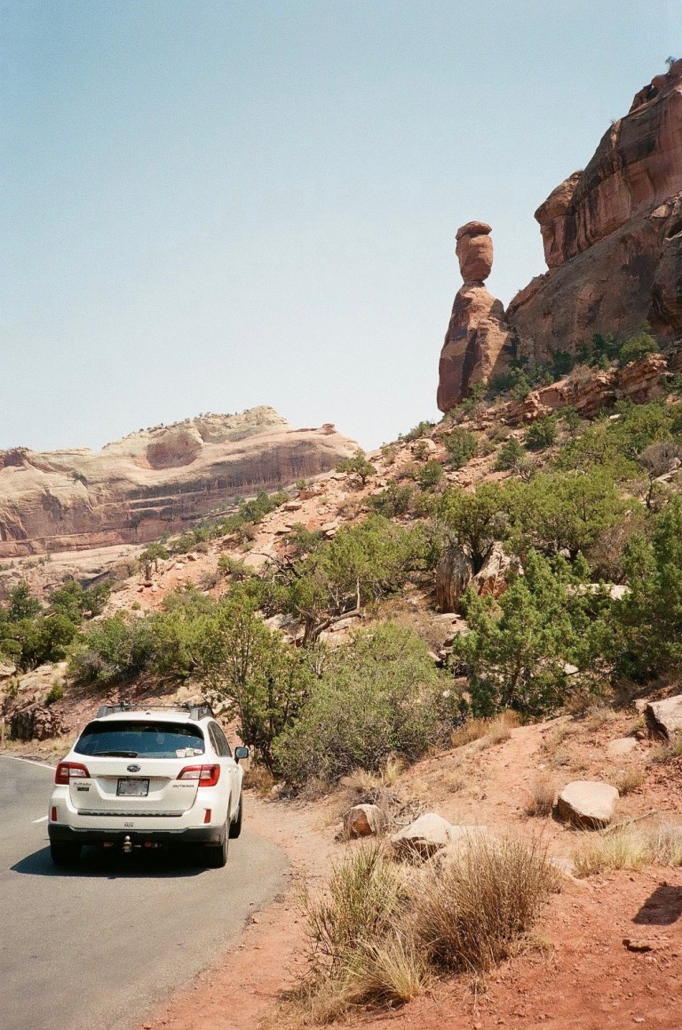 Film photograph : our trusty Subaru Outback in Colorado National Monument