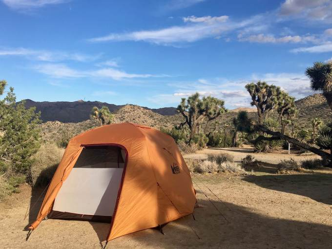 Gear Review REI Co-op Grand Hut 4 tent camping at Black Rock Canyon campground Joshua Tree National Park