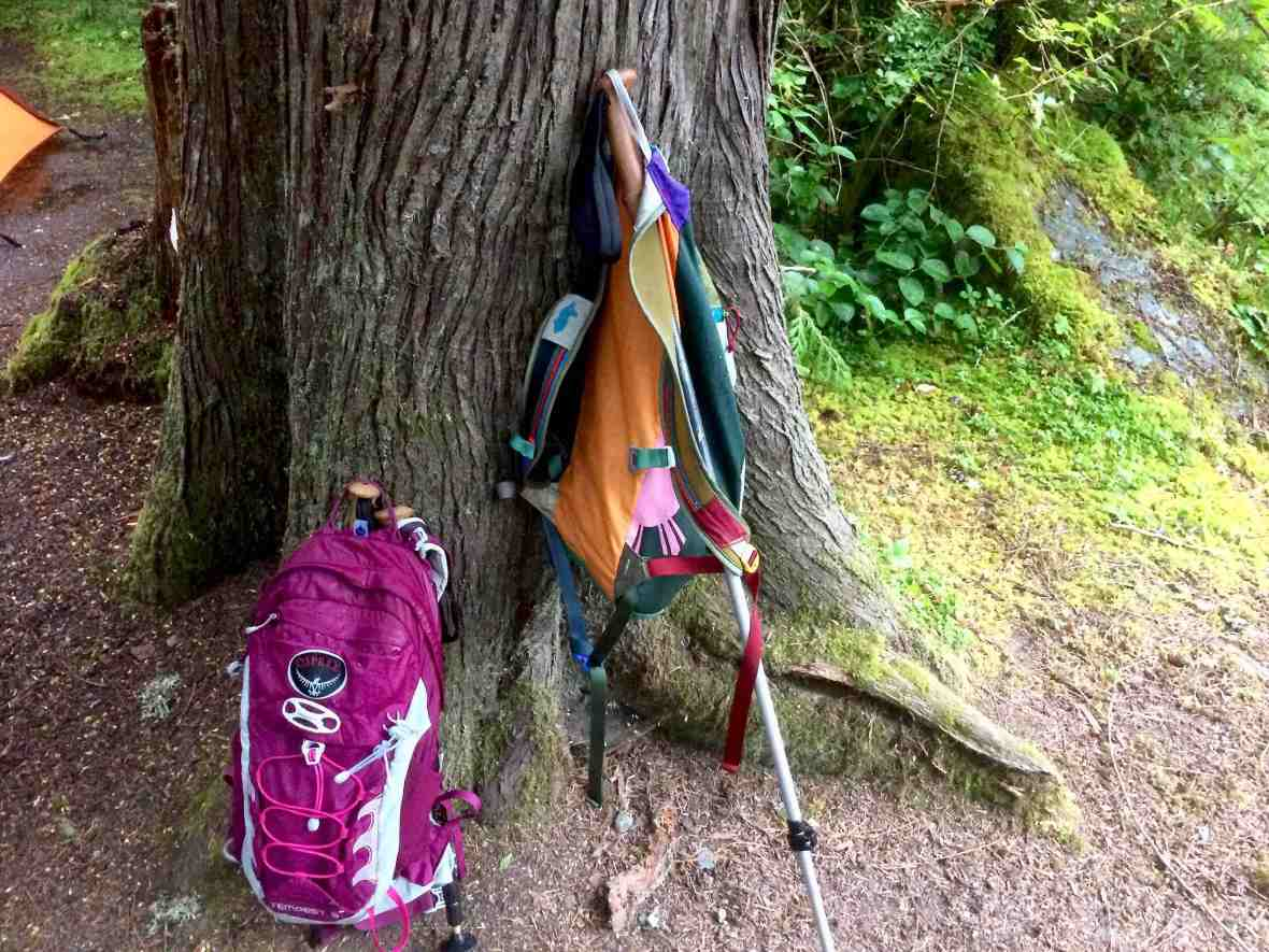 His Cotapaxi backpack my Osprey daypack