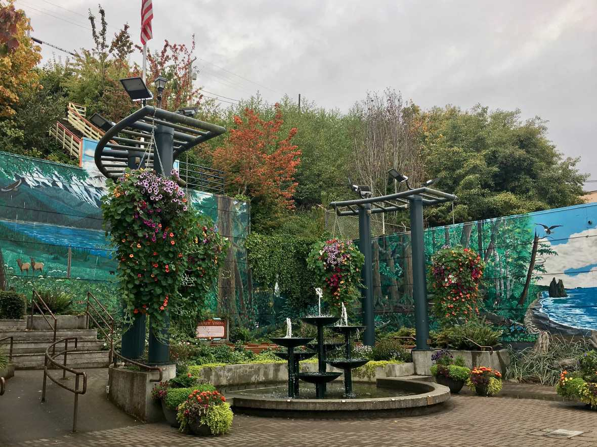 Pocket park in downtown Port Angeles Washington