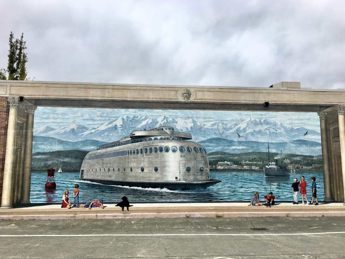 Mural of the first ferry between Port Angeles and Victoria, BC Port Angeles Washington
