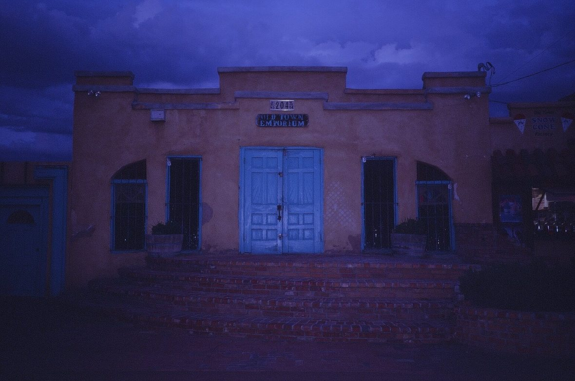 Expired Kodak Elite Chrome 35mm film photograph Old Town Emporium at Dusk Albuquerque, New Mexico