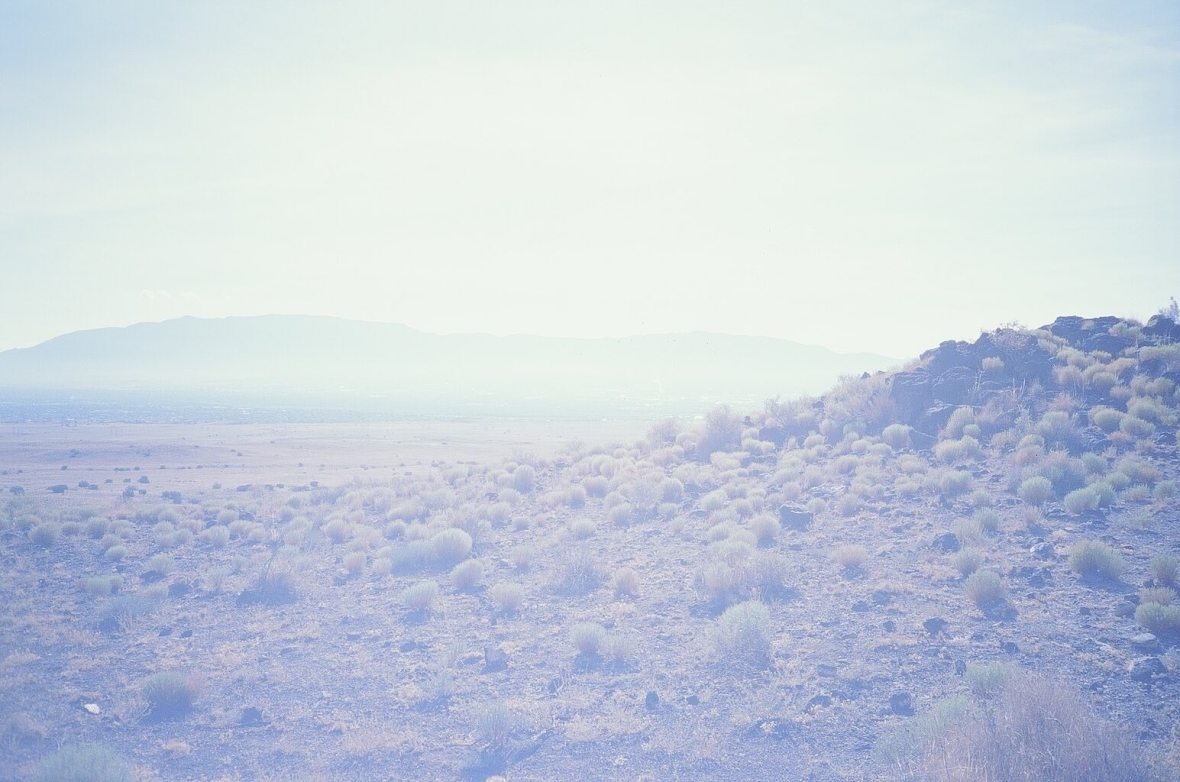 Expired Kodak Elite Chrome 35mm film photograph Shooting into the sun at Petroglyph National Monument (Albuquerque, New Mexico)