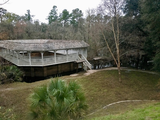 White Springs Florida historic mineral springs bath house on Suwannee River flooded
