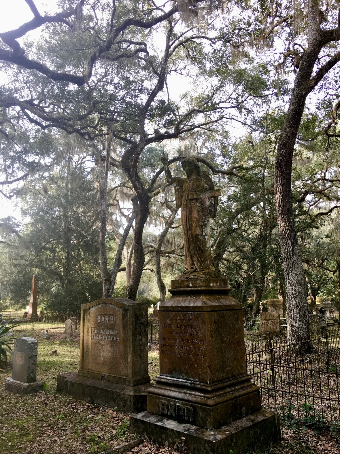 19th Century Angel Monument in Historic cemetery in Micanopy, Florida