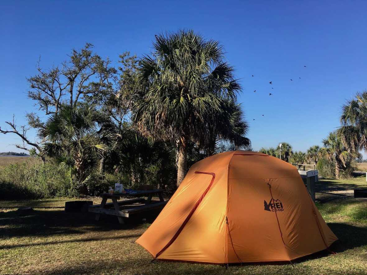 Our campsite at Shell Mound Campground Levy County park Cedar Key Florida