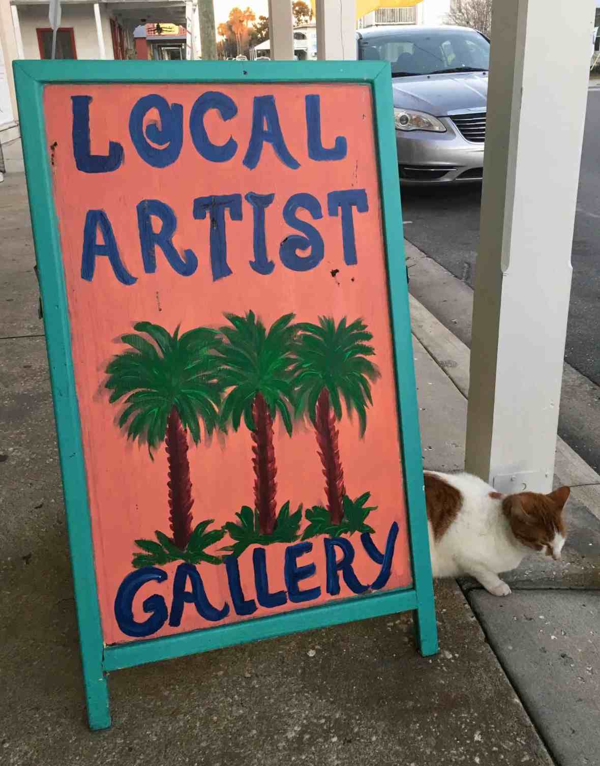 Local art & local kitty Cedar Key Florida