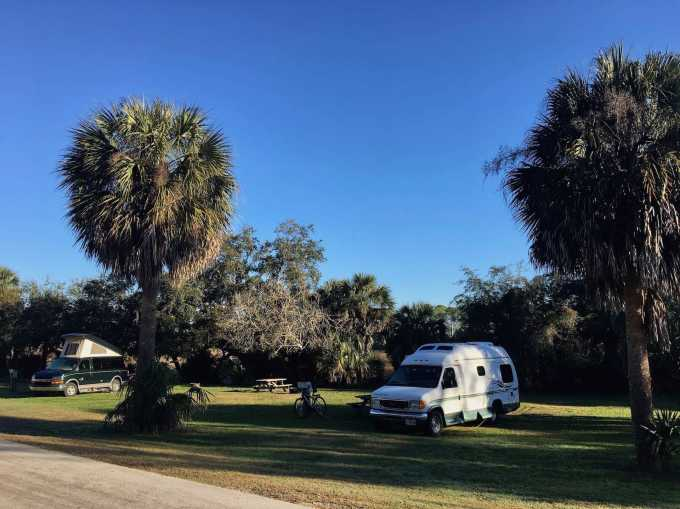 Campsites at Shell Mound campground levy county park Cedar Key