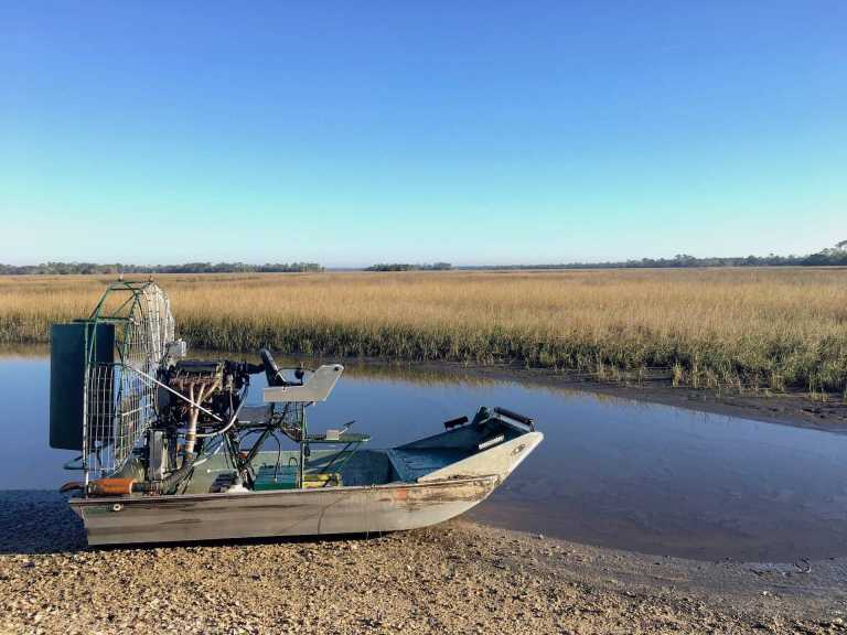 Airboat at Shell Mound campground Levy County park Cedar Key