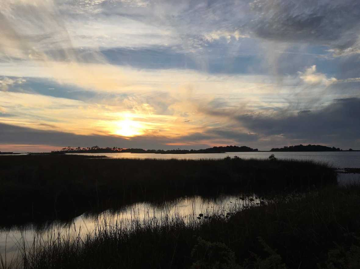 Sunset view of the Salt Marsh at Shell Mound Cedar Key Florida