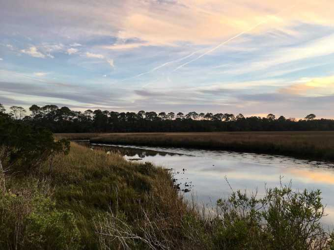 Sunset over Salt Marsh at Shell Mound, Lower Suwannee NWR
