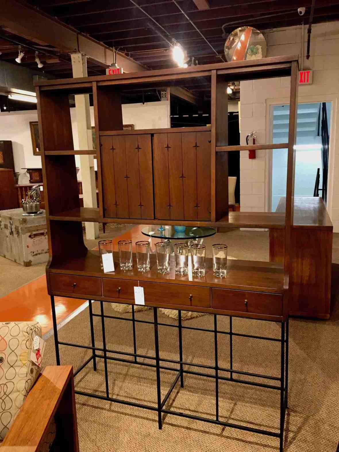 Mid century bar at Furnish Me Vintage in St. Petersburg Florida