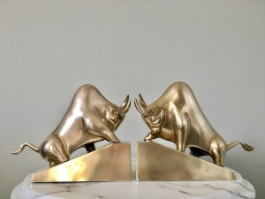 Mid century modern modernist Brass Bull bookends
