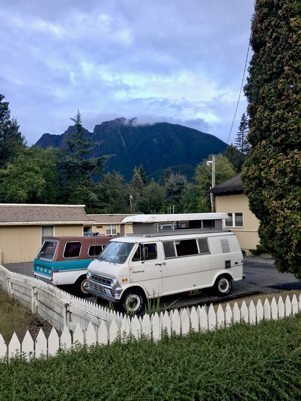 Great vintage campervan with Mt. Si in the background North Bend, WA