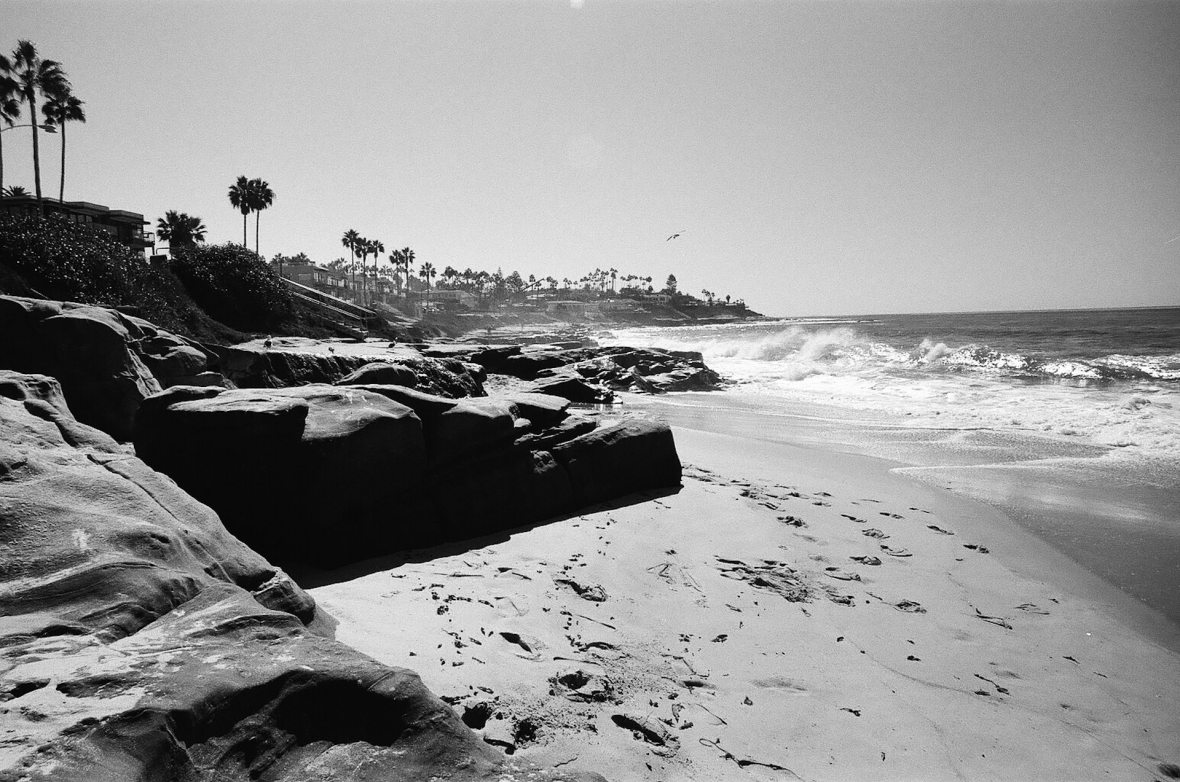 Windansea Beach in La Jolla 35mm film photography Kodak Tri-X black and white San Diego California Nikon F2