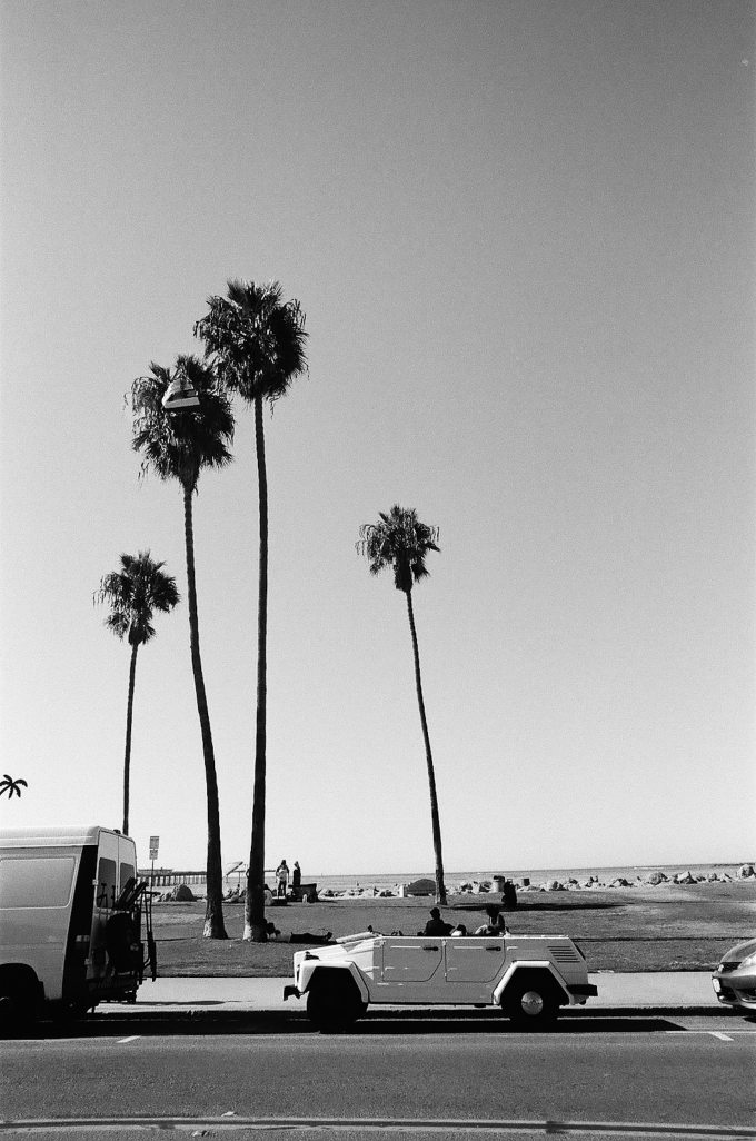 35mm film photography black and white VW Thing and Palm Trees at Ocean Beach in San Diego California Nikon F2