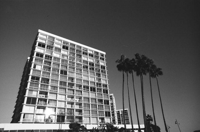 Coronado Beach Condos 35mm film photography Kodak Tri-X black and white San Diego California Nikon F2