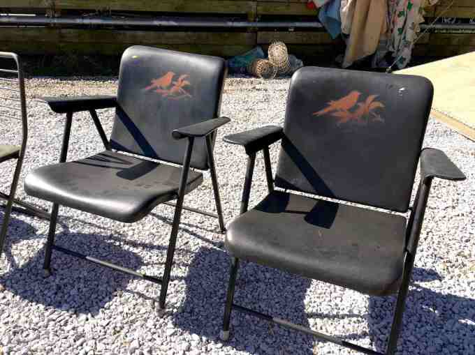 Russel Wright metal patio chairs with bird stencil detail at the Nashville Flea Market
