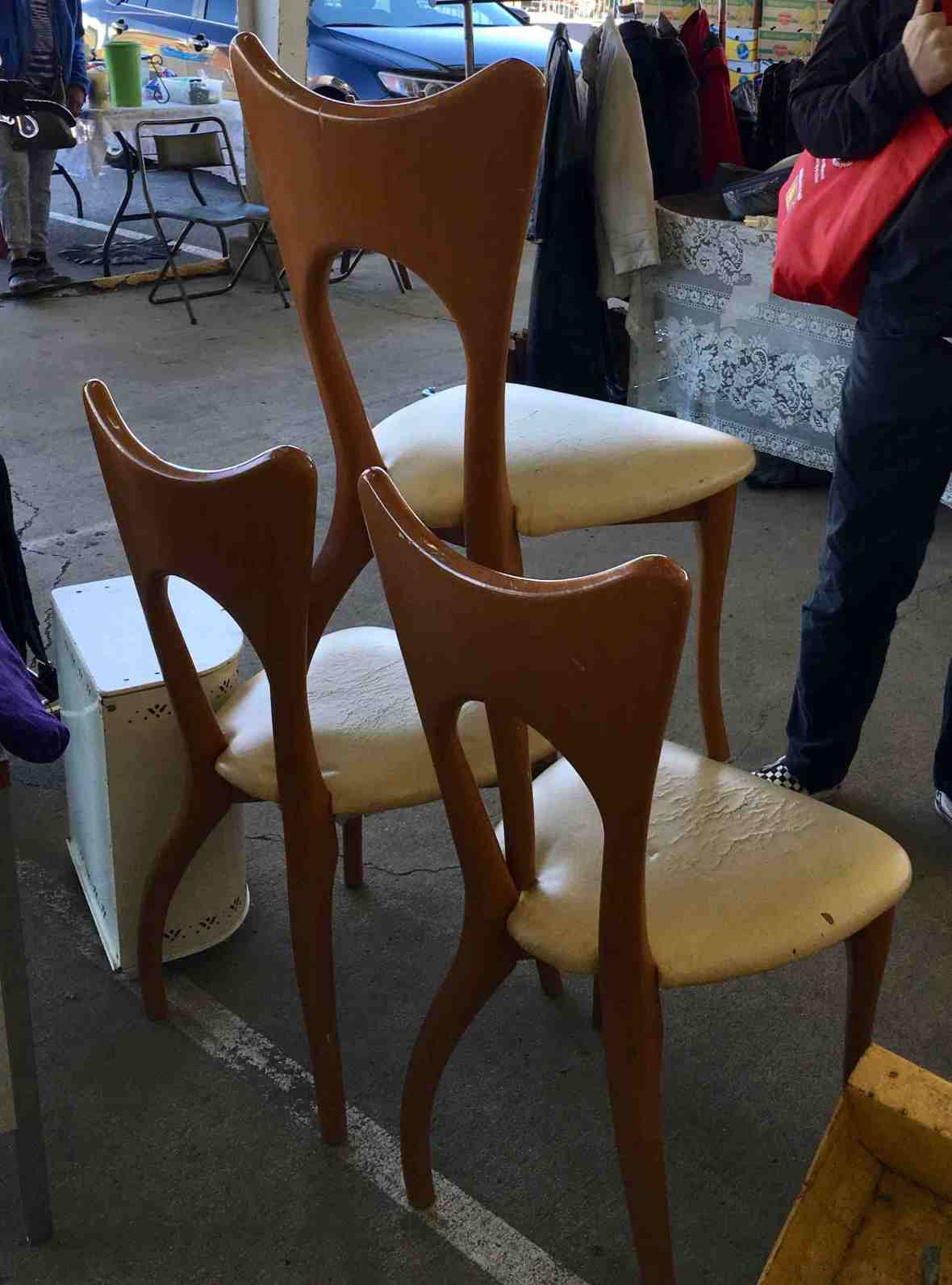 Unusual mid century chairs (designer unknown) at Nashville Flea Market