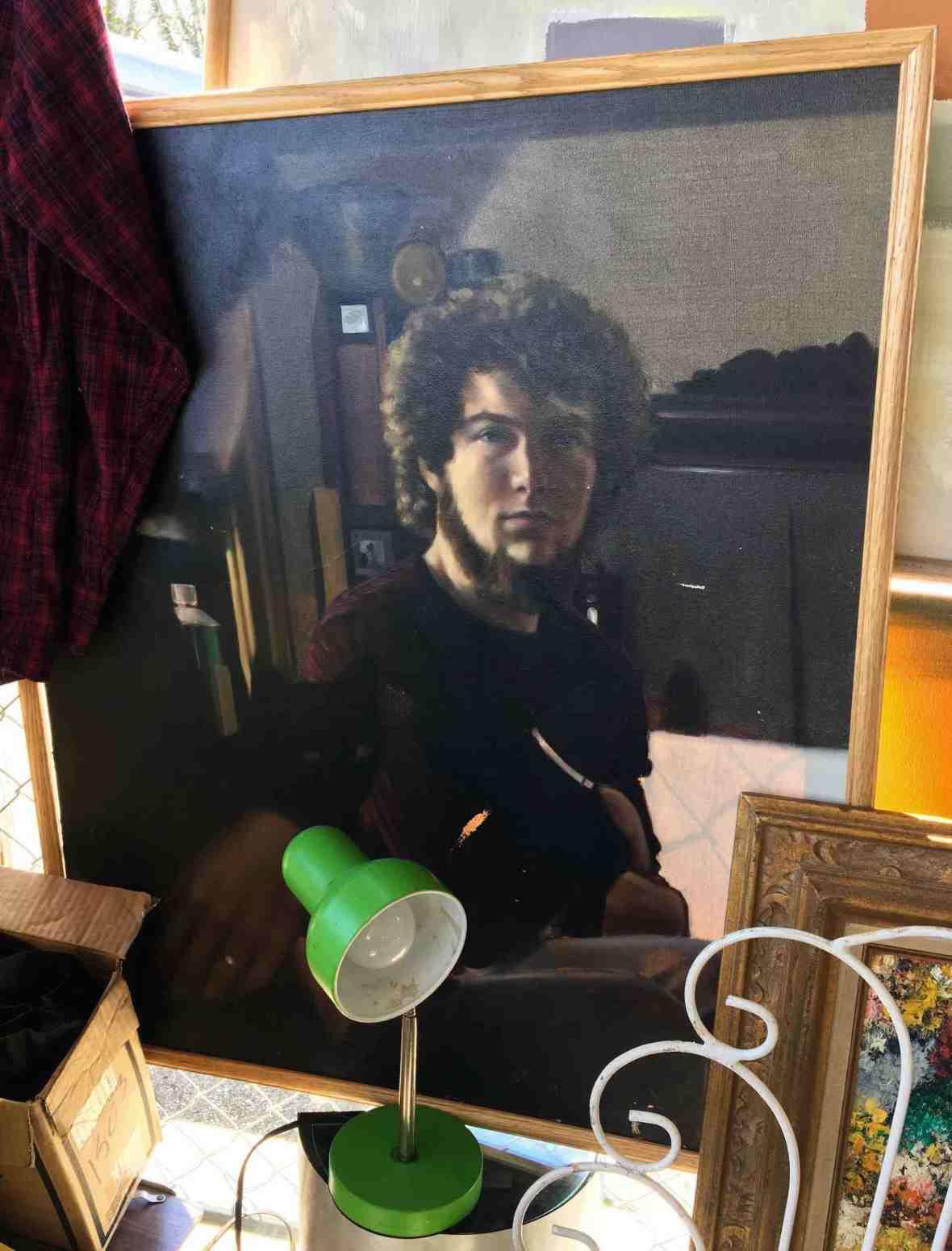 70's Self portrait painting at Nashville Flea Market