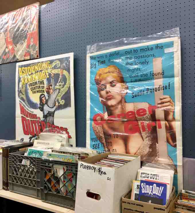 Pulp posters and magazines at 8th Avenue Antique Mall