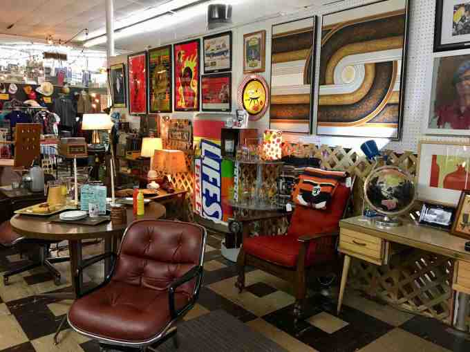Mid century furniture and posters at 8th Avenue Antique Mall in Nashville
