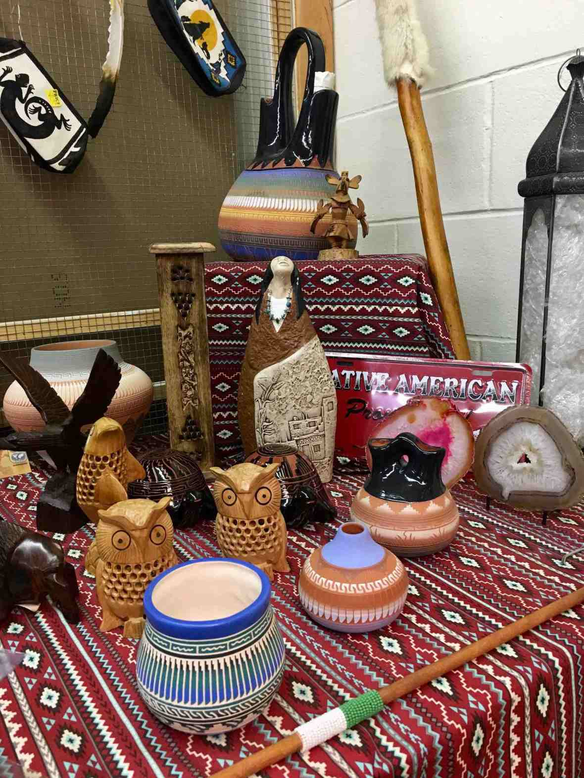 Navajo pots at Treasures Antique Mall in Cookeville, Tennessee