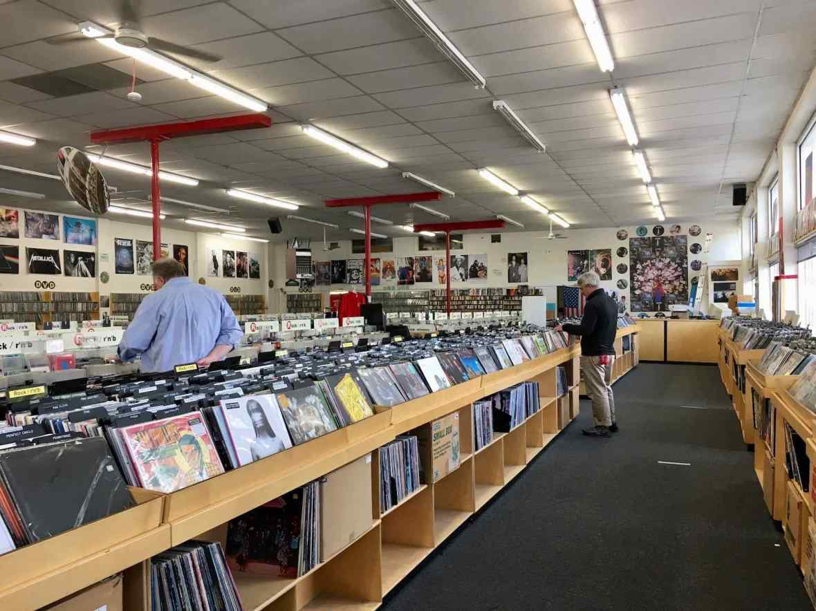 Browsing LP's at Everyday Music - just one of several Bellingham, Washington's record stores