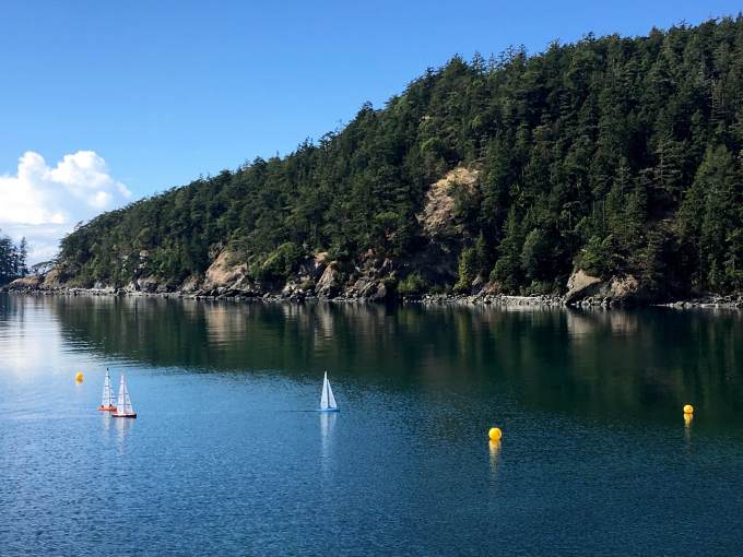 Radio-Controlled dinghy regatta in Bowman Bay, Deception Pass State Park Washington