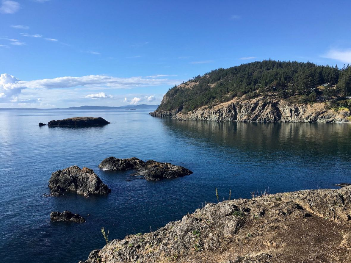 View of San Juan Islands, Looking North from Rosario Head Deception Pass state park Washington