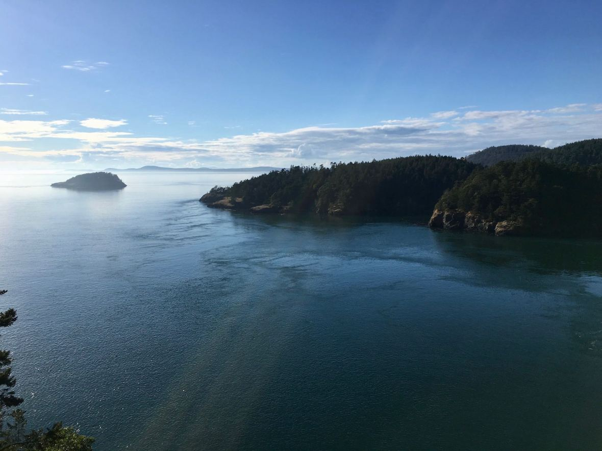 Looking East from Deception Pass Bridge Washington