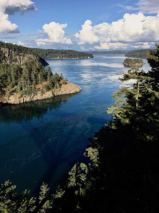 Looking East to Miller Bay from Deception Pass Bridge Washington